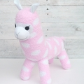 'Astrid' the Sock Alpaca - pink with white spots - *READY TO POST*