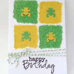 Birthday Card - Handmade Paper with Frogs