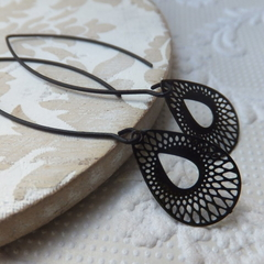 Black Lasercut Filigree Open Teardrop Earrings