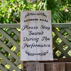 Bathroom Rules Reclaimed Timber Sign