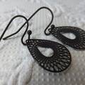 Black Lasercut Filigree Open Teardrop Earrings