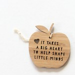 Teacher Gift Decoration thank you ornament bamboo it takes a big heart apple