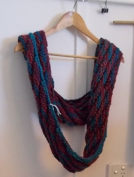 Wool and soy blend Mobius collar, rust, teal and turquoise colours ON SALE