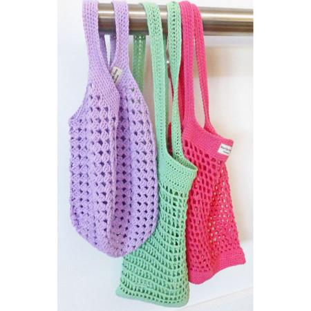 Post free. Market bag, mesh, cotton, crochet, reusable, watermelon colours