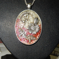 Nature, bees, fairies fantasy fairy on the moon red and pink glitter pendant sil
