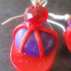Red Hat Society, Red hat Earrings, Red and Purple Caps, Casual wear.