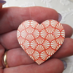 Red and White Concentric Print Heart Wooden BroochBrooch