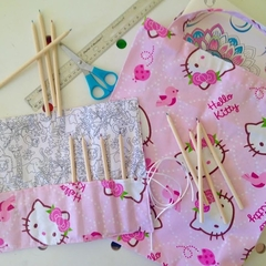 Pink Library/Shopping Bag & Pencil Roll Set - Hello Kitty