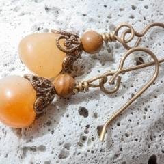 Carnelian Nugget & Brass Orange Drop Earrings