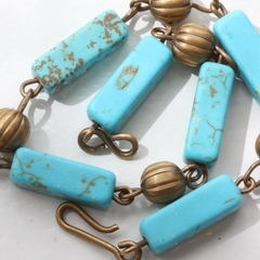 Turquoise & Brass Beaded Bracelet