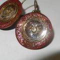 Suns, Sun symbol charm, earrings, bronze tone, red glitter, Sun God, Sun face, r