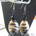 Tiger stripe, gold and black, wire wrapped bead hook earrings