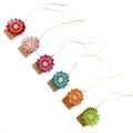 Set of 6 Mini Blossom Tags Paper Raffia Hemp Twine Gift Wrap Embellishment