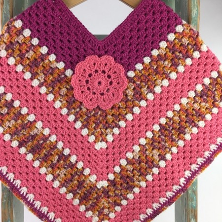 Pure Wool Crochet Poncho | 5 - 6 Years | Girls | Hand Crocheted | Ready to Post
