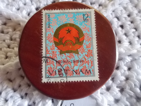 Brooch handcrafted from reclaimed hardwood and Vietnamese postage stamp ON SALE