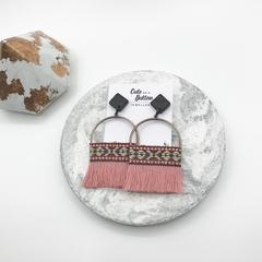 Boho Tassel Earrings - Pink