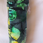 Green batik water bottle cover