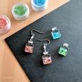 Perfume Bottle Drop Earrings (Pink & Green) - Kawaii Resin