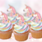 12x EDIBLE wafer  Unicorns & Flowers cupcake toppers