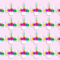 24x MINI Rainbow Unicorn Horn & Flowers  EDIBLE Wafer Cupcake Toppers #115