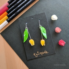 Custom Colour Tulip Drop Earrings - Handmade Kawaii Flowers