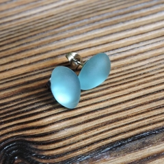 Eco Friendly Recycled Blue Glass Stud Earrings