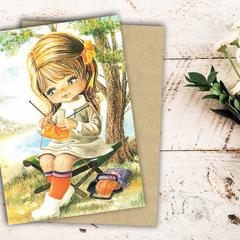 Retro Girl Greeting Card