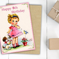 Personalised Girls Birthday Card, Childrens Birthday Age Card,  Kids Birthday Ca
