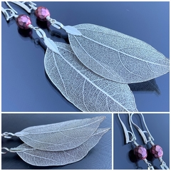 Silver Leaf Earrings with Pink Czech Glass Beads