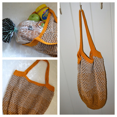 Crochet Mesh Market Bag - Orange & Caramel Ombré