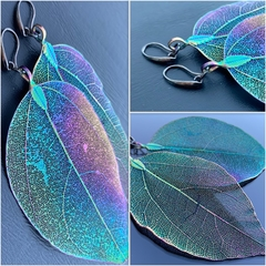 Dark Green & Purple Leaf Earrings with Gun Metal Hooks