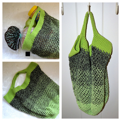 Crochet Mesh Market Bag - Green & Black Ombré
