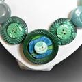 Green button necklace - Go Green!