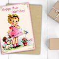Personalised Girls Birthday Card, Childrens Birthday Age Card,  Kids Birthday Ca