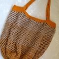 Crochet Mesh Market Bag - Orange & Caramel Ombré