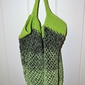 Crochet Mesh Market Bag - Green & Black Ombré