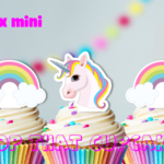 30x MINI Unicorn and Rainbows  EDIBLE cupcake cake toppers stand up birthday