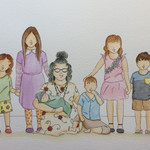 A4 Custom Portrait - 1 adult, 5 children, 1 baby