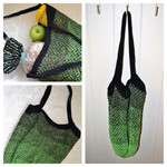 Crochet Mesh Market Bag - Black & Green Ombré