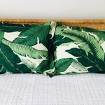 Linen pillowcase in Tommy Bahama swaying palm fabric