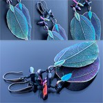 Dark Green & Purple Leaf Earrings with Czech Glass