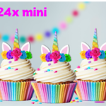 24x MINI Rainbow Unicorn Horn & Flowers  EDIBLE Wafer Cupcake Toppers #115