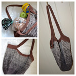 Crochet Mesh Market Bag - Chocolate & Cream Ombré