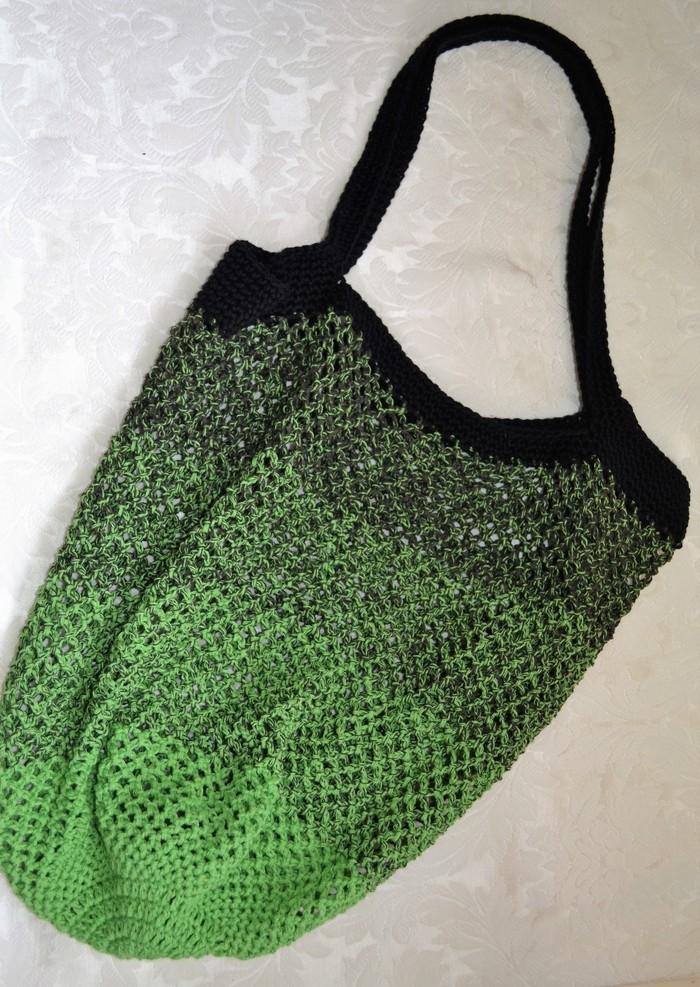 Crochet Mesh Market Bag Black Green Ombré Sew Thea Madeitcomau