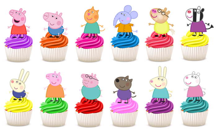 Set of 12 Any Color Pig Cupcake Toppers