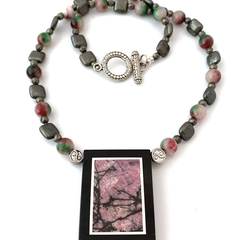 Natural RHODONITE Intarsia Frame, Pyrite, Pink & Black Yin Yang ZEN Necklace.