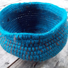 Crocheted bowl made from brown wool and teal cotton