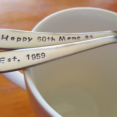 60th Birthday Gift,60th,Custom Gift ,Christmas,Teaspoon,Hand Stamped,