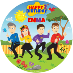 Wiggles Edible Icing  Personalized Circle Cake Topper