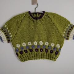 """""""Hydrangea"""" Short sleeve Hand knit jumper."""